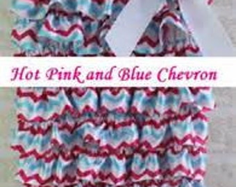 Hot Pink and Blue Chevron Girls Romper with Ruffles S 0-12m
