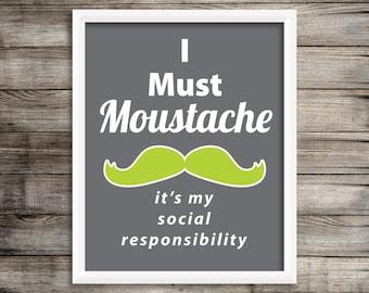 """Modern Green Moustache """"Movember"""" Wall Art ~ Digital Download"""