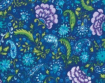 The Painted Garden by Dena Designs for Free Spirit - PWDF139 - Blossom - Peacock Blue - Fat Quarter - FQ - Cotton Quilt Fabric