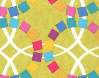 Quilt Blocks by Ellen Luckett Baker for Moda - Spectrum - Geometric Wedding Rings - Chartreuse - 1/2 yard Cotton Quilt Fabric 516