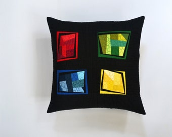 Rainbow Pillow,  Abstract Pillow, Stained Glass, Quilted Pillow Cover,  Rainbow Modern Pillow, Fiber Art, Throw Pillow