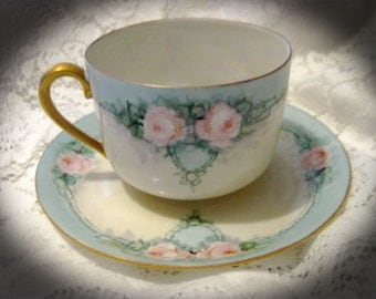 Early 1900's Hand Painted Germany Teacup And Saucer-Pink Roses