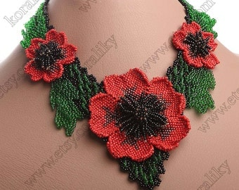 NECKLACE, BRACELET, EARRINGS. Beaded Blooming Large Flower 3D Poppy Red Handmade