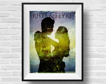 ACOMAF Characters 8 x 10 Typography Art Print A Court of Mist and Fury Inspired Literary Quote Rhys Feyre Rhysand Book Nerd Fandom Fan