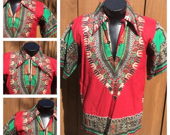 VINTAGE 1960-70s  -- Collared DASHIKI -- 70s Butterfly Collar -- Dutch Java Print Fabric - LARGE