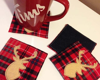 Fabric Coasters - Plaid Reindeer mats - Hostess Gift - Set of 4