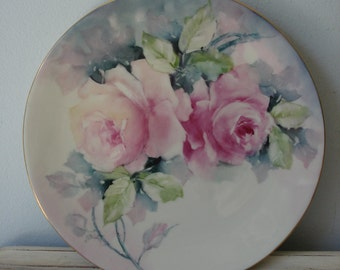 Vintage Rose Plate/Hand Painted Rose Plate/Signed Rose Plate/decorative rose plate/large pink roses