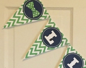 "LITTLE MAN BOWTIE Navy Green ""Little Man"" Baby Shower Banner - Party Packs Available"