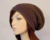 Ready to Ship, Purple and Brown Slouch Hat, Taupe Brown with Lavender and Amethyst Striped Slouch Beanie, Womens Hat, Teen Slouchy Hat