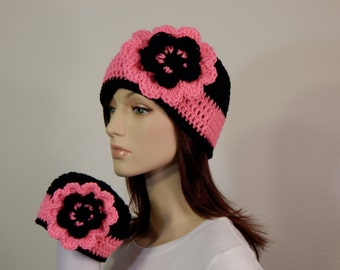 Matching Mom and Baby Hats, Bright Pink and Black Flower Hat, Photo Prop, Mama and Me, Baby Shower Gift, Christmas, MarlowsGiftCottage