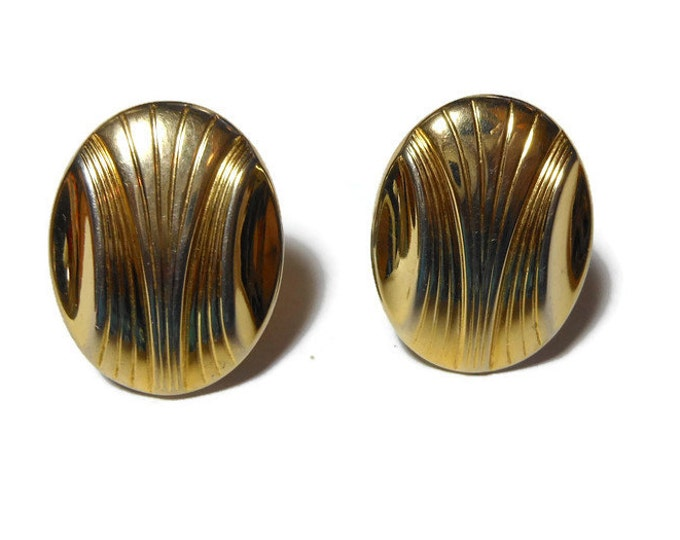 FREE SHIPPING Gold disc clip earrings, Art Deco style, etched design, lightweight oval disc