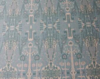 Blue Green  gray cream IKAT Upholstery Fabric