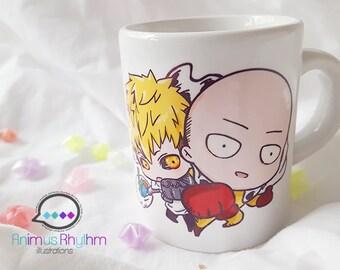 Mini Ceramic Mug: One Punch Man Saitama and Genos Anime Cup