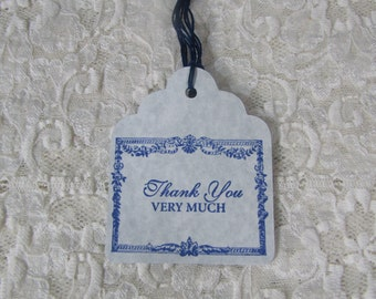 French Inspired Blue Border Thank You Very Much Tags set of 8