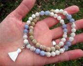LUCIFER'S LIGHT Mala-Style Devotional Necklace - Tiny White Silk Tassel with Aquamarine & White Moonstone - demonology, demonolatry