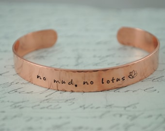 Keepsake Copper No Mud, No Lotus Hand Stamped Secret Message Bracelet