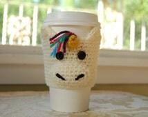 Unicorn Coffee Cozy, Crocheted Coffee Cozy, White Unicorn, Animal Coffee Cozies, Crocheted Unicorn Cozy, Cute Unicorn