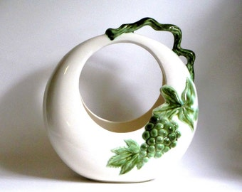 Hull Pottery Tokay Grape Moon Basket Ceramic Vase in White Green Grapes Leaves and Vine Accent 1960's Art Pottery Planter