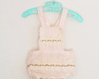 Vintage Romper with Matching Bonnet Baby Sunsuit Pink