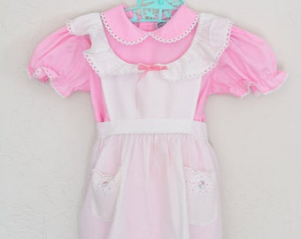 Little Girls Vintage Dress with Pinafore by Nanas Pet