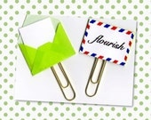 Planner Clip (Sold Individually) - Flourish Planner Clip - Gift Tag - Pocket Letter Clip - Tiny Envelope - Snail Mail Paperclip