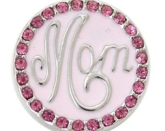1 PC - 18MM Pink Mom Enamel Rhinestones Silver Snap Candy Charm kb6917 CC2034