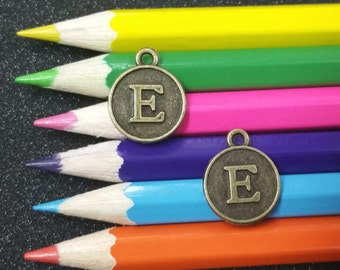 5 PC Letter E Alphabet Round Charm Bronze Tone Zinc Alloy Pendant Charm Antique Zinc Alloy I-E