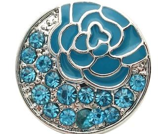 1 PC 18MM Blue Enamel Flower Rhinestone Silver Candy Snap Charm kb7132 CC1732