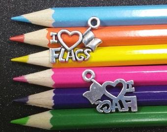 2 PCS - I Love Heart Flags Flag Silver Charm Pendant C1248