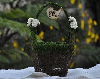 Personalized Flower Girl Basket/Nest Rustic-Fairy tale-Woodland Wedding