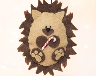 Felt Christmas Ornament - Felt Hedgehog Ornament