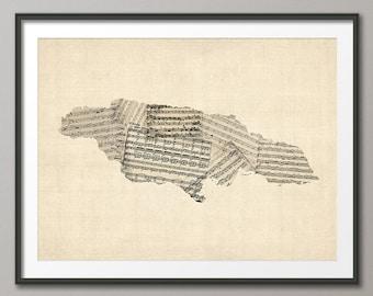 Jamaica Old Sheet Music Map Caribbean, Art Print (2382)