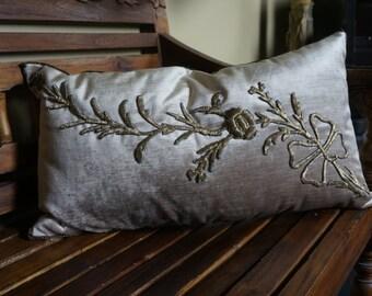 antique pillow, 1800's embroidery, velvet decorative pillow