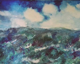 Stormy seas A2 print , printed on 180g paper (sold unframed)