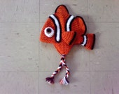Crocheted Toddler Hat, Crocheted Baby Hat, Finding Nemo