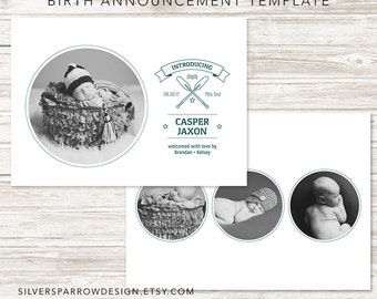 Boy Birth Announcement Template, Rustic Oar Template, INSTANT DOWNLOAD