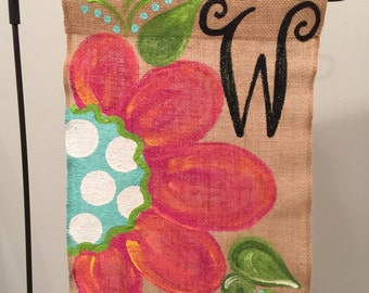 Handpainted Burlap Garden Flag...Whimzical Flower with Initial