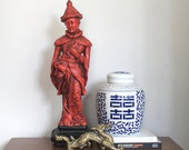 "RESERVED Large Vintage Chinese Emperor Statue Red 24"" Asian Figure Marwal Inc Regency Decor"