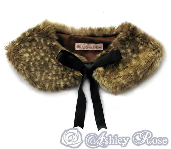 Faux fawn fur lolita peter pan collar tippet dark brown satin lining kawaii harajuku japan japanese fashion