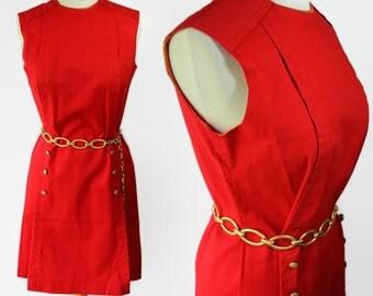 60s Russ Shift Dress Red Orange Nautical Chain Link Belt
