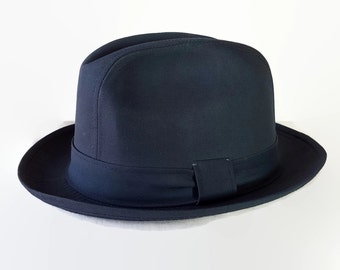 60s 70s Resistol Hat, Fedora, Deadstock, Navy Blue, Trilby, Mad Men
