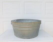 Galvanized Tub Wash Tub #3  Bucket Metal Handles Metal Mop Bucket Pail