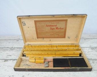 Antique Vintage Aristocrat Sign Marker Wood Stamp Set Wood Block