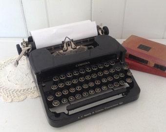 Vintage Corona Standard Portable Manual Typewriter Black w/ Case L C Smith & Corona Glass Keys 1930's Antique Needs TLC