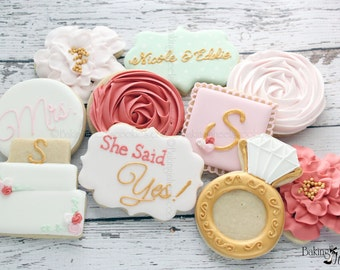 Floral She Said Yes Cookies: 2  DOZEN, Bridal Brunch Cookies, Diamond Ring Decorated Cookies, Wedding cookies, Bridal Shower cookie