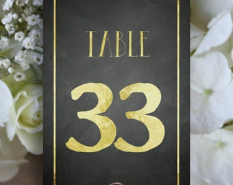 Chalkboard and Gold Table Number, Printable 1 to 40, Downloadable, Print it yourself.
