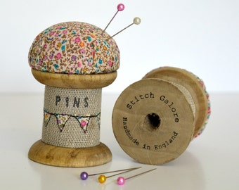 PINCUSHION, Wooden spool, Cotton reel pincushion, Pin holder, Needle holder, Wooden cotton reel, Wooden bobbin, Bobbin pincushion,embroidery