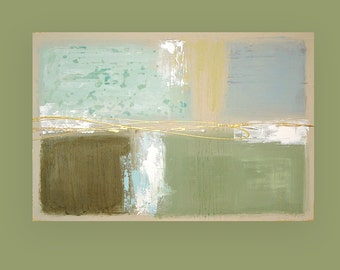 Original Painting, Art Abstract Acrylic Painting Aqua and Taupe Fine Art by Ora Birenbaum Titled: Seaglass 24x36x1.5""