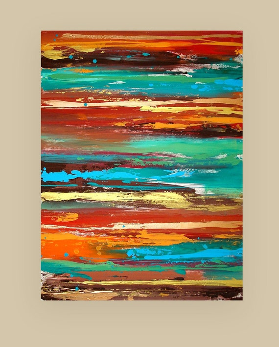 Art, Abstract Acrylic Original Painting Fine Art Textured Modern Painting by Ora Birenbaum Titled: Fusion 2 30x40x1.5""