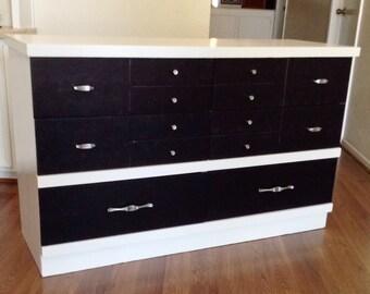 White and Black  Mid Century Modern Dresser, Chest of Drawer, Credenza